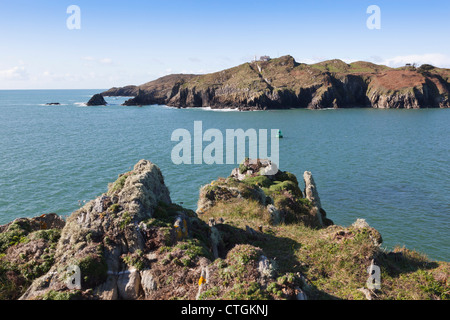 Baltimore, West Cork, Ireland. Looking towards the lighthouse from near the Beacon. - Stock Photo
