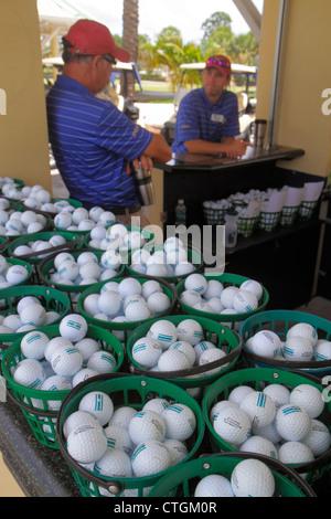 Port St. Lucie Florida Saint PGA Village golf course club driving range balls buckets - Stock Photo