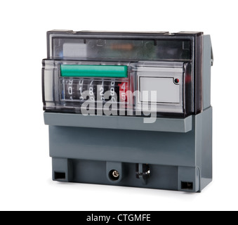 Grey plastic electric meter isolated on white - Stock Photo