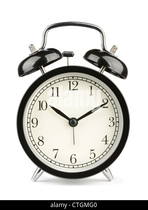 Black classic style alarm clock isolated on white - Stock Photo