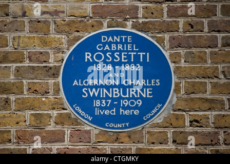 blue plaque marking the cheyne walk home of dante gabriel rossetti and algernon charles swinburne, chelsea, london, - Stock Photo