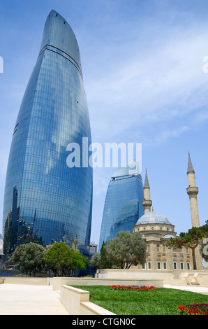The Turkish mosque and modern buildings. Baku. Azerbaijan. - Stock Photo
