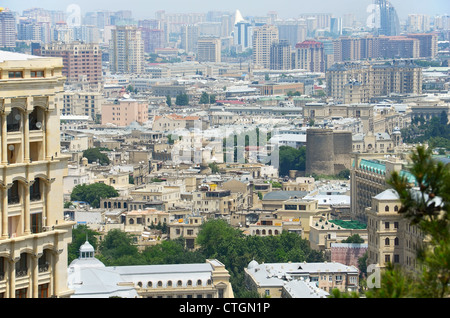 View of Baku city - capital of Azerbaijan - Stock Photo