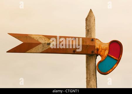 Courtmacsherry-Timoleague estuary, West Cork, Ireland. Old train signal. - Stock Photo
