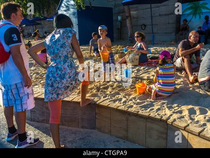 Paris, France, Families Enjoying Public Events, Paris Beach, 'Paris Plages', in Center CIty River Seine plage - Stock Photo