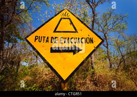 OMETEPE ISLAND, NICARAGUA: Volcano evacuation route sign on Ometepe Island street - Stock Photo