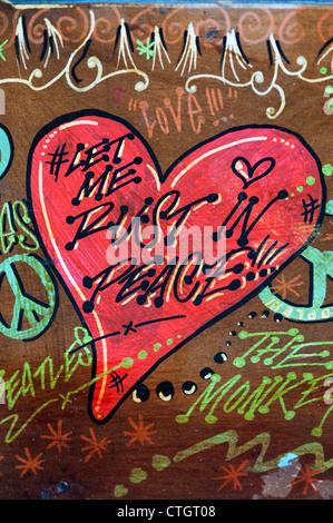 Hippie VW Volkswagen camper van painted wooden door abstract. Let me rust in peace painting - Stock Photo