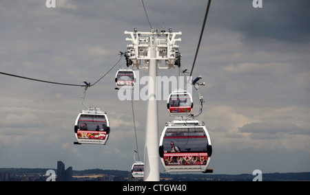 Emirates Air Line which is also known as the Thames Cable Car - Stock Photo