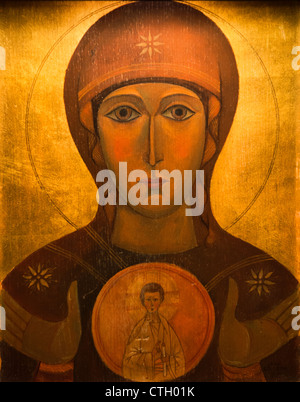 Icon of Mary and Jesus Christ - Stock Photo