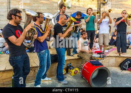 Paris, France, Local Brass Band Playing at Public Events, Paris Beach, 'Paris Plages', in Center CIty River Seine - Stock Photo