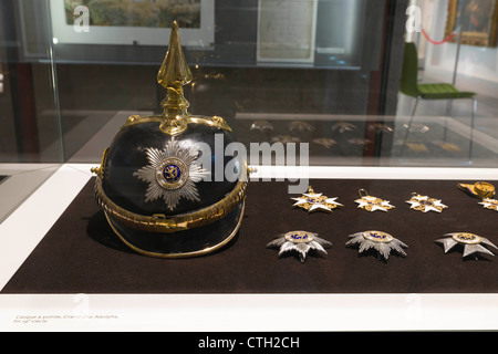 German spiked helmet and medalls from Grand Duke Adolphe times. - Stock Photo