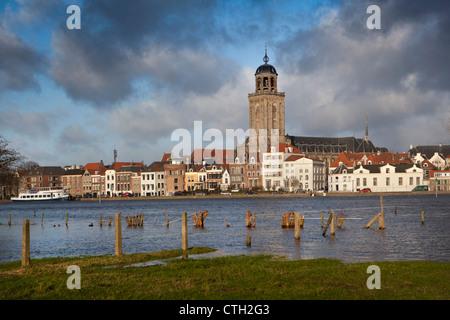 The Netherlands, Deventer, Skyline. Ijssel river. High water. - Stock Photo