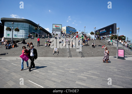 Westfield Stratford City Shopping Centre steps, London, England, UK - Stock Photo