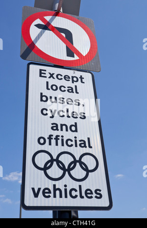 Traffic sign in place during the Olympic Games, London, England, UK - Stock Photo