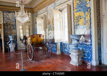 Queluz National Palace Interior in Sintra - Portugal - Stock Photo