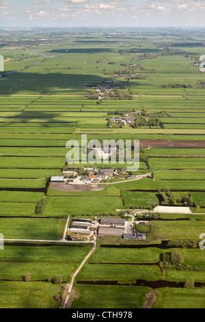 The Netherlands, Kamerik, Farms in polder. Aerial. - Stock Photo