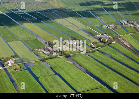 The Netherlands, Zegveld, Polder called Zegvelderbroek. Farms. Aerial. - Stock Photo