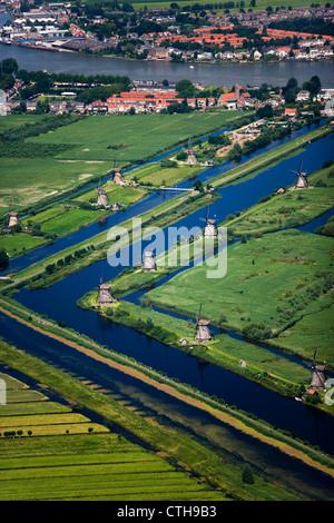 The Netherlands, Kinderdijk near Rotterdam. Windmills in polder. Aerial. UNESCO World Heritage Site. - Stock Photo