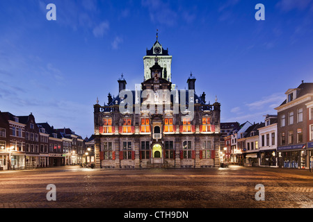 The Netherlands, Delft, Townhall. Dawn.