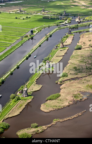 The Netherlands, Alblasserdam, Kinderdijk, Windmills, UNESCO World Heritage Site. Winter. Aerial view. - Stock Photo