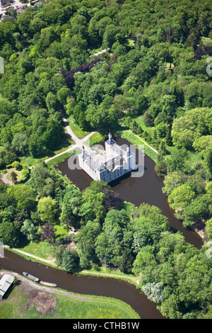 The Netherlands, Warmond, Castle called Huys te Warmond. Aerial. - Stock Photo