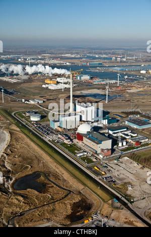 The Netherlands, Borssele, Nuclear power plant. Aerial. - Stock Photo