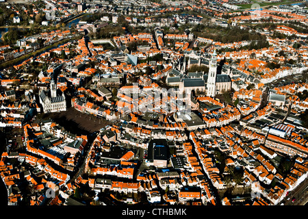 The Netherlands, Middelburg, Aerial of city center. - Stock Photo