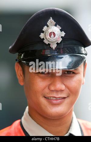 Traffic officer in uniform, Bangkok, Thailand. - Stock Photo