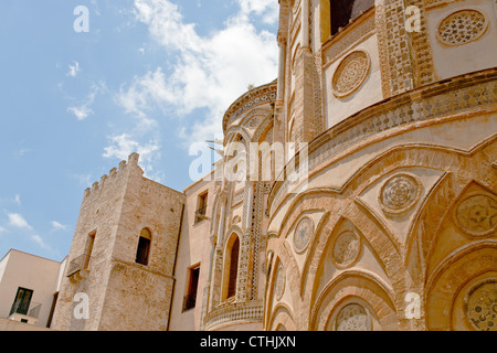 ancient wall of norman style Duomo di Monreale, Sicily, Italy - Stock Photo