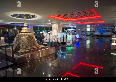 Dream Hotel, Lobby with Pagodas, Bangkok, Thailand - Stock Photo