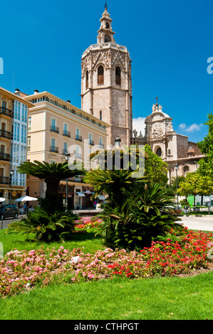 Cathedral and El Micalet or El Miguelete bell tower, Plaza de la Reina, Valencia, Spain - Stock Photo