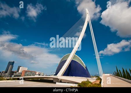 The Assut de l'Or Bridge, City of Arts and Sciences complex, Valencia, Spain - Stock Photo