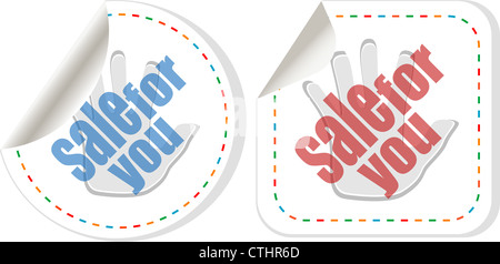 sale sticker set with hands isolated - Stock Photo