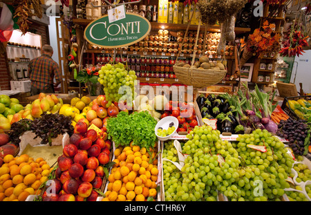 Fruit & vegetables on sale in Mercato Centrale, Florence, Italy - Stock Photo
