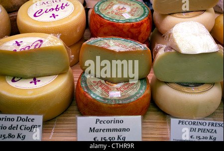 Pecorino cheese on sale in Mercato Centrale, Florence, Italy - Stock Photo
