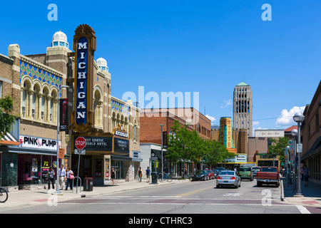 East Liberty Street in downtown with historic Michigan Theater to left and State Theater in distance, Ann Arbor, - Stock Photo