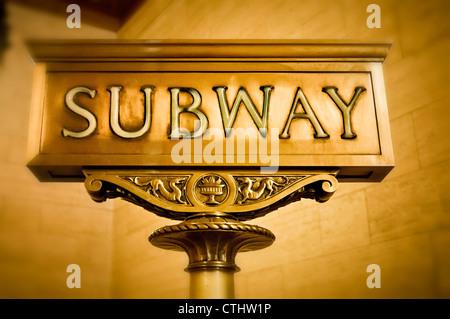 Subway Sign, Sepia, New York - Stock Photo
