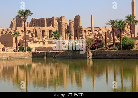 The Sacred Lake of Precinct of Amun-Re, Karnak Temple Complex, Luxor, Egypt - Stock Photo