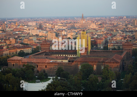 Cityscape of Milan with Sforza Castle and Duomo, seen from Branca Tower, Milan, Italy - Stock Photo