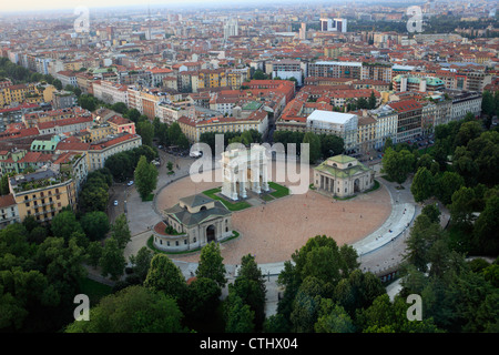 Arch of Peace, or Simplon Gate, seen from Branca tower, in Milan, Italy - Stock Photo
