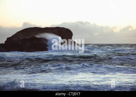 Waves At South Beach In Pacific Rim National Park Near Tofino; British Columbia, Canada - Stock Photo