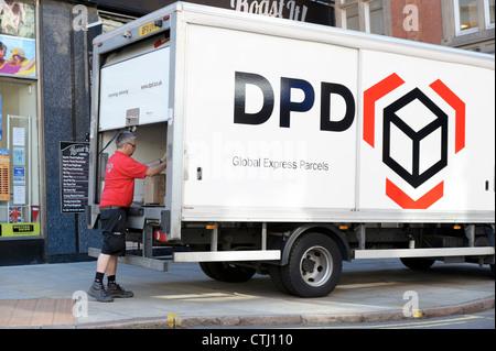 DPD express parcels delivery truck Nottingham, UK.