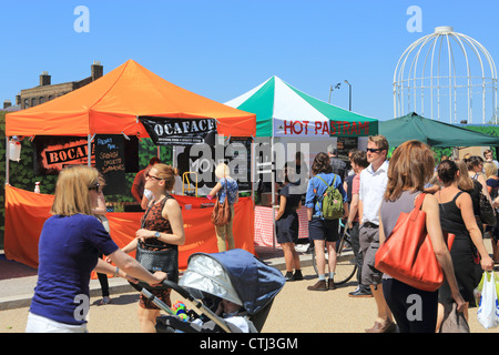 KERB, a lunchtime street food market, on King's Boulevard, behind Kings Cross and St Pancras railway stations in - Stock Photo