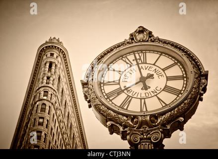 Flatiron building, 5th Avenue Clock, Sepia, New York - Stock Photo