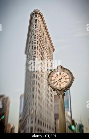 Flatiron building, 5th Avenue Clock, New York - Stock Photo