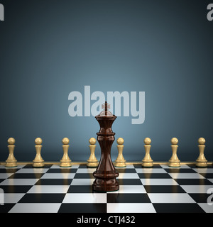 King with pawns on chessboard - Stock Photo