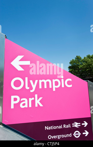 London 2012, signage for the Olympic games at Stratford station, London, England - Stock Photo