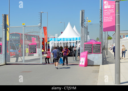 Security check at entry point for media press & broadcasters at the London 2012 Olympic Park Olympic Park Stratford - Stock Photo