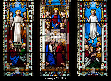 East window, St. George`s Church, Barton in Fabis, Nottinghamshire, UK - Stock Photo