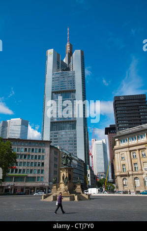 Goetheplatz square with view towards Commerzbank tower (1995) Mitte central Frankfurt am Main city state of Hesse - Stock Photo
